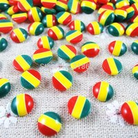 Wholesale Hot Sales mm Acrylic Half Beads Round Rasta Color DIY Resin Flat Back Jewelry Scrapbook Craft H
