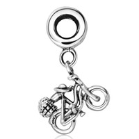 bicycle fit - Sterling Silver Pendant Bicycle European Charm Beads Fit Necklace Snake Chain Bracelets DIY Fashion Jewelry