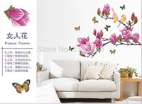 art paper supplier - Removable Flower Home Art Decor Wall Stickers Chaste magnolia purple Mural Wall Paper Stickers supplier AY1903