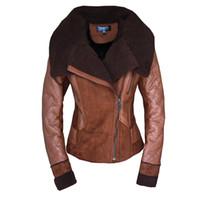 aviator motorcycle jacket - Female Short Turn Down Fur Collar Lamb Berber Liner Motorcycle Aviator PU Patchwork Suede Shearling Coats Leather Jacket Women