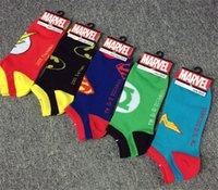 Sock Slippers adult cartoon slippers - 60pcs hot sale fashion Designs Cartoon sports socks Superhero Socks Batman Captain America Superman socks Adult socks cartoon D504