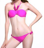 Cheap Halter Ruffle Backless bikini Best Triangle Pant Swim Suits