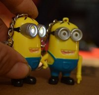 Wholesale Despicable Me Cute Minion LED Keychain Flashlight Torch Sound Toy Promotion Novelty Gift Lover Children Christmas Gift