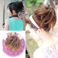 Wholesale 2015 Women Girls Straight Hair Buns Clip In Hair Extension Colors L04185 order lt no tracking