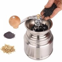 Wholesale Bean grinder Portable stainless steel cm cm coffee burr grinder manual flat wheel pepper grinding mill F