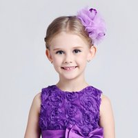 Wholesale 1pcs children girl Sweet Chiffon Flower bows hair band baby girl hairband kids headwear hair accessories