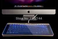 apple wire keyboard - New Arrival Bastron Glass Touch Smart Keyboard for Apple Desktop with kinds of getures and Blue Pink LED backlight