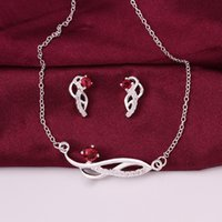 Wholesale Wedding Ring Sterling Silver Sparkly Zircon Necklace Earrings Jewelry Set Gemstone Jewelry Colors