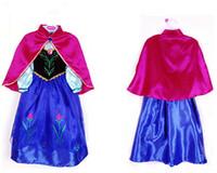 Wholesale frozen girl dresses gown new autumn christmas halloween children princess lace long sleeve tutu skirt dress cape party costume anna