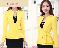 Wholesale New Women Spring Summer Candy Color Long Sleeve Blazers Jackets Ladies Sexy Deep V Neck Single Button Surcoat Girls Sweet Peplum Small Suits