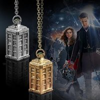 antique telephone booth - New Design Antique Silver Gold DOCTOR WHO Tardis Telephone Booth Police Box Retro Pendant Necklace Men Women Necklace JN026