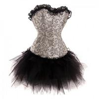 Wholesale Silver Black Burlesque Lace up Boned Brocade Corset Tutu Skirt Set Fancy Burlesque Dress