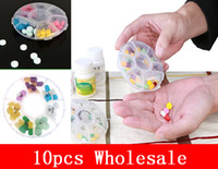 Wholesale 10pcs New Weekly Rotating Pillbox Travel Pill Case Pill Organizer Medicine Box Drugs Pill Container