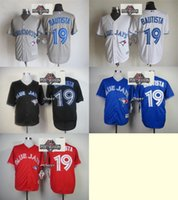 Wholesale 2015 Newest Men s Jose Bautista Toronto Blue Jays Black Red White Blue Grey Baseball Jerseys w Postseason Patch