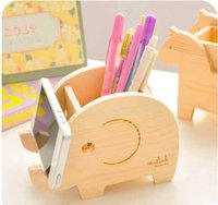 Wholesale 4 styles animal Solid wood pen container sweet fashion students barrel office supplies South Korea stationery desk drawer organizers