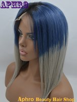 Wholesale Instock Human Hair Glueless Lace Front Wigs Bob Haircut Blue Gray Wigs Density inches Short Brazilian Ombre