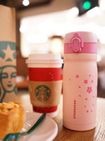 Wholesale Summer Japan Style Pink Cherry coffee cup Girls stainless steel Mug Cup ML for Starbucks coffee cup out door portable accompanying mug