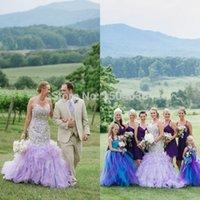 purple plus size wedding dresses - Fashionable Plus size Wedding dress Lace Appliques Organza Purple Party Gown Vestidos de novia