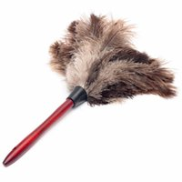 Wholesale New Arrival Useful cm Natural Fall Ostrich Feather Duster Brush Wood Handle Anti static Natural Grey Fur Home Clean