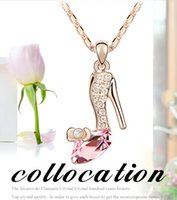 Wholesale 2015 hot sale Cinderella Crystal shoes Necklace Crystal Bling Gold Plated Jewelry shoes Pendant Necklaces gifts for girls friend