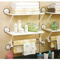 bathroom pole shelf - Three generations of shuangqing double layer double pole with suction cup bath kitchen rack bathroom shelf storage rack