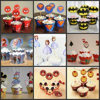Wholesale Mickey Mouse Despicable ME Minion kinds Cupcake Wrapper Decorating Boxes Cake Cup With Toppers Picks For Kids Birthday Xmas Decorations