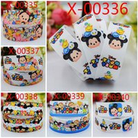 Wholesale 100 yards quot mm lovely Tsum Tsum grosgrain ribbon tape cartoon Mickey Minnie mouse print handmade DIY ployester bow ribbon HX