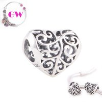 Loose Beads silver - heart silver charms Love heart Heart Love silver charms fit charm bracelets No90 T022B