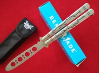 bench retail - Bench made BM40 Balisong Butterfly Knife engraved dragon C steel blade Trainer Silver satin with nylon bag retail box