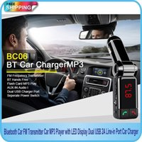 Wholesale Wireless Bluetooth Car Kit FM Transmitter LCD Digital Display Dual USB Port Car Charger Hands free Calling SD Card MP3 MP4 Player