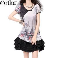 Wholesale Artka Women S Summer Skin Friendly Silk Ink Print Handmade Plate Buttons Chinese Style Short Sleeve Shirt SA10839X