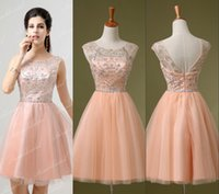 Wholesale Charming Peach Pink Crystal Homecoming Short Prom Dresses Knee Length Beads Sheer Neck Backless Cocktail Party Gowns Cheap Real Image