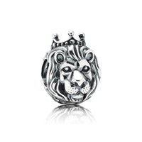lion charms - Silver Lion vintage Charm pendant solid sterling silver DIY slide charms loose silver beads european charms LW390