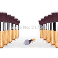 angels and demons - 1 PC Hot sale Cosmetic brush angels and demons bamboo handle flat head foundation brush powder brush universal Kabuki