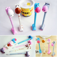 Wholesale 50pcs Cut Donkey Hippo Giraffe Style Ballpens With Holder Office Studying Ballpoint Pens Girls Accessories os184