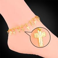 anklets for girls - Vintage Cross Charm Bracelet for Women K Real Gold Platinum Plated Jesus Jewelry Ankle Chains Bracelets Anklets
