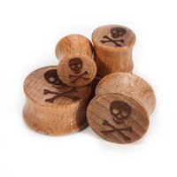 wooden earrings - New cute image high quality wood earring jewelry low MOQ skull wooden ear gauge plug tunnels vibrating body piercing jewelry