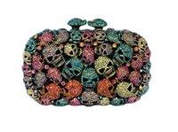 Cheap 2015 New Women's Full Rhinestone Skull Head Punk Clutch Bags Fashion Ladies Party Evening Designer Handbags B447#