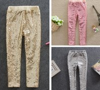 Cheap Free UPS Fedex Ship 2016 Spring Autumn New girls Leggings kids gold sequins pp pants children Bottoms girls gold gray pink princess pants