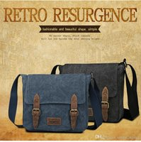 leather canvas laptop bag - Hot selling cotton canvas Washed cotton canvas Men s Vintage Canvas Shoulder crossbody bag outdoor Handbags Laptop Genuine Leather