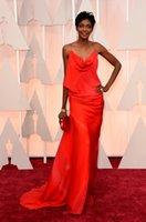 Wholesale 2015 th Oscar Academy Awards Celebrity Dresses Fashion Ruched Sheath Red Carpet Gowns Spaghetti Chiffon Sweep Train Prom Party Dress