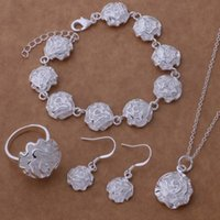 Wholesale Fashion Jewelry Jewelry Sets silver Fashion jewelry Necklace Bracelet earrings rings WT