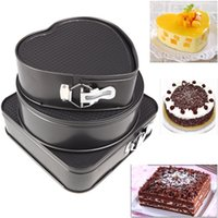 heart shape pan - Set of Three Springform Pans Chocolate Cake Bake Mould Mold Bakeware Round Heart Square Shape Kitchen Accessories Baking Tools dandys