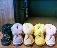 Wholesale Retail kids genuine real cow leather sequin crystal snow boots shoes warm boot girl fleece shoes children kids boots ankle girls winter