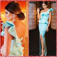 Wholesale One Shoulder Sheath Formal Evening Dresses Split Front Floor Length Sky Blue Long Special Occasion Party Gowns Cheap Online Sale