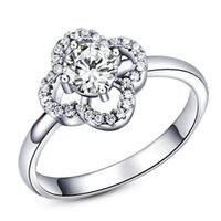 Wholesale rings Sterling silver round Zircon crystal ring opening for women gift iice latest fashion Jewelry NO29