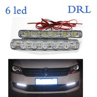 Wholesale 6LED X Car LED Day Driving Lamp DRL Auto Auxiliary Lamp Super LED Day Light V with Retail Box