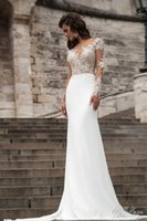 Wholesale Perfect Sexy Lace Mermaid Wedding Dresses Milla Nova Illusion Scoop Long Sleeves Bridal Gowns Sheer Back Buttons Vestido de Novia KR1