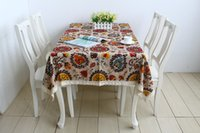 Wholesale New Zakka Mediterranean linen flowers printed tablecloth table cover Modern Home decoration140cm cm