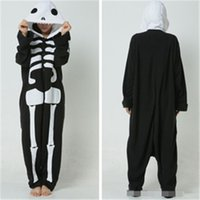 Wholesale A Flannel a Skeleton Pajamas Animals Onesies Pyjamas Jumpsuits COSPLAY Costumes Cute Cartoon Sleepwear For Adult
